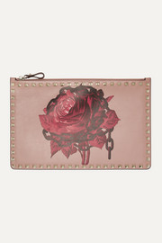 Valentino Valentino Garavani Rockstud large floral-print leather pouch