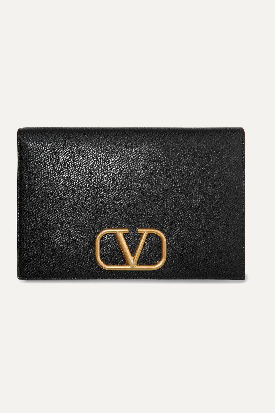 Valentino Valentino Garavani Go Logo textured-leather pouch