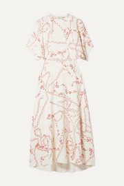 Paneled printed crepe midi dress