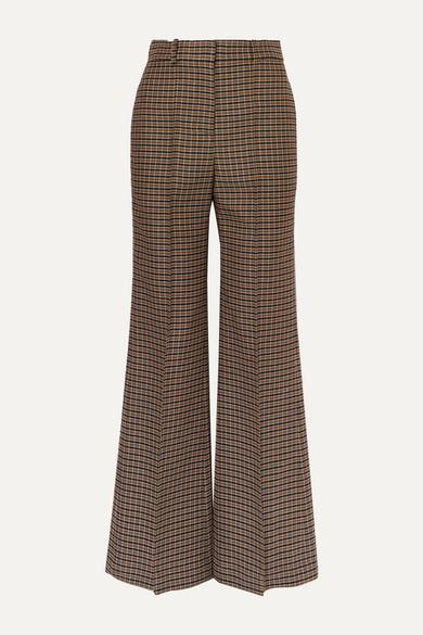 VICTORIA BECKHAM Checked wool wide-leg pants