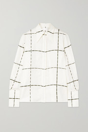 Checked silk-twill shirt