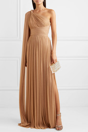 One-sleeve draped metallic tulle gown