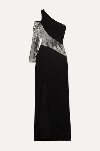 one-sleeve-sequin-embellished-crepe-gown by rasario