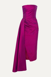 RASARIO Strapless draped silk-shantung midi dress