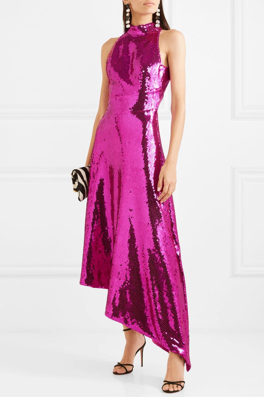 RASARIO 不对称露背亮片缎布中长连衣裙