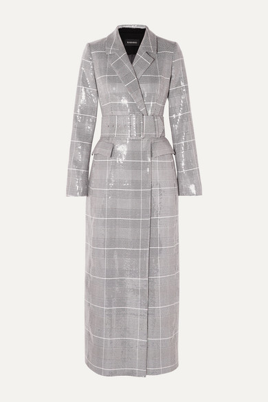 sequined-checked-double-breasted-tweed-coat by rasario