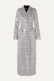 RASARIO Sequined checked double-breasted tweed coat