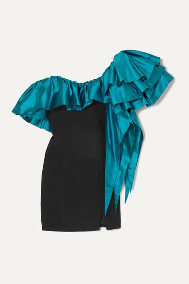 One Shoulder Ruffled Shantung And Crepe Mini Dress by Rasario