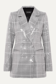 RASARIO Double-breasted checked sequined tweed blazer