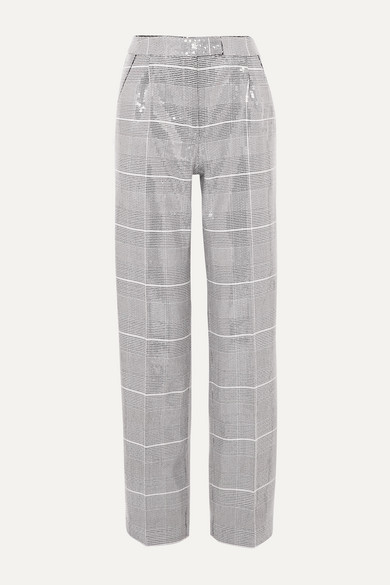sequined-checked-tweed-straight-leg-pants by rasario