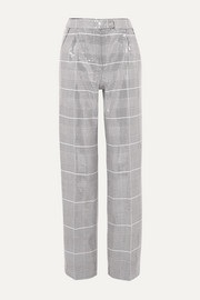 Sequined checked tweed straight-leg pants