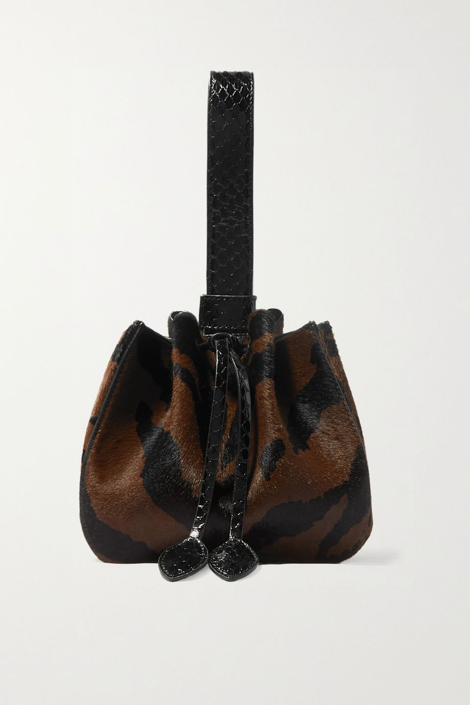 Alaïa Rose Marie mini watersnake-trimmed zebra-print calf hair bucket bag