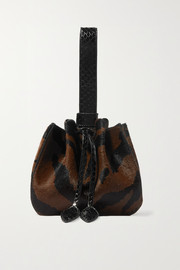 Marie-Jene mini watersnake-trimmed zebra-print calf hair bucket bag