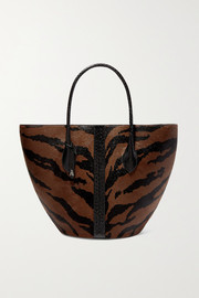 Elaphe-trimmed animal-print calf hair tote