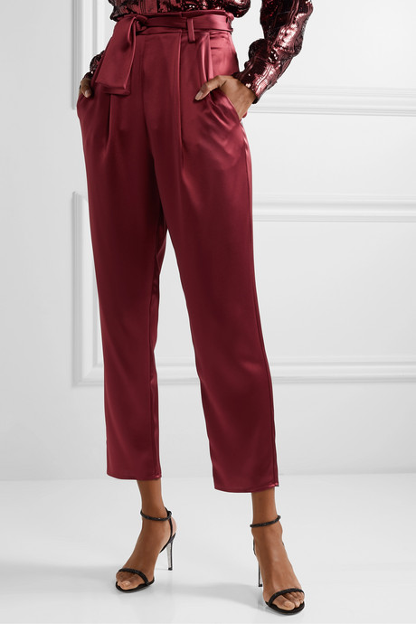Belted satin tapered pants
