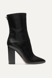 Valentino Valentino Garavani Ringstud 100 glossed-leather ankle boots