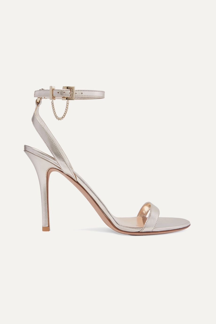 Valentino Valentino Garavani Tiny Chain 100 metallic leather sandals