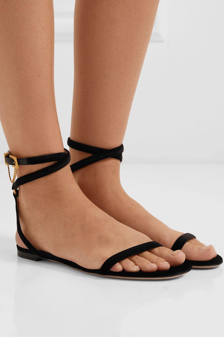 Valentino Valentino Garavani Tiny Chain velvet sandals