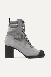 Valentino Garavani Rockstud 95 leather-trimmed suede ankle boots