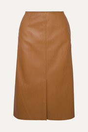 Iden leather midi skirt