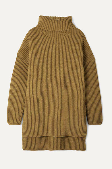 Joseph Oversized Ribbed Merino Wool Turtleneck Sweater In Light Brown