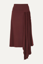 Joseph Selma asymmetric pleated silk-crepe midi skirt