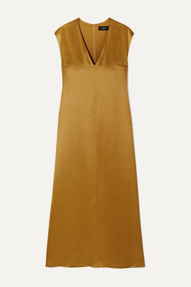 Joseph Donall Silk-satin Midi Dress In Light Brown