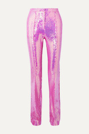 Sequined satin straight-leg pants