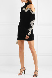 David Koma Embellished cutout stretch-cotton velvet mini dress