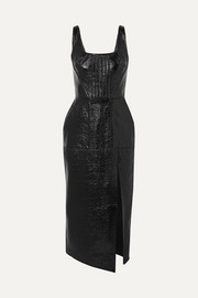 David Koma Coated cotton-blend midi dress