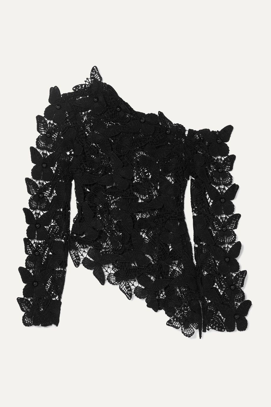 David Koma Asymmetric embellished cotton macramé top