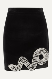 David Koma Embellished cutout stretch-cotton velvet mini skirt