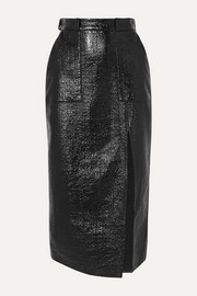 David Koma Coated cotton-blend midi skirt