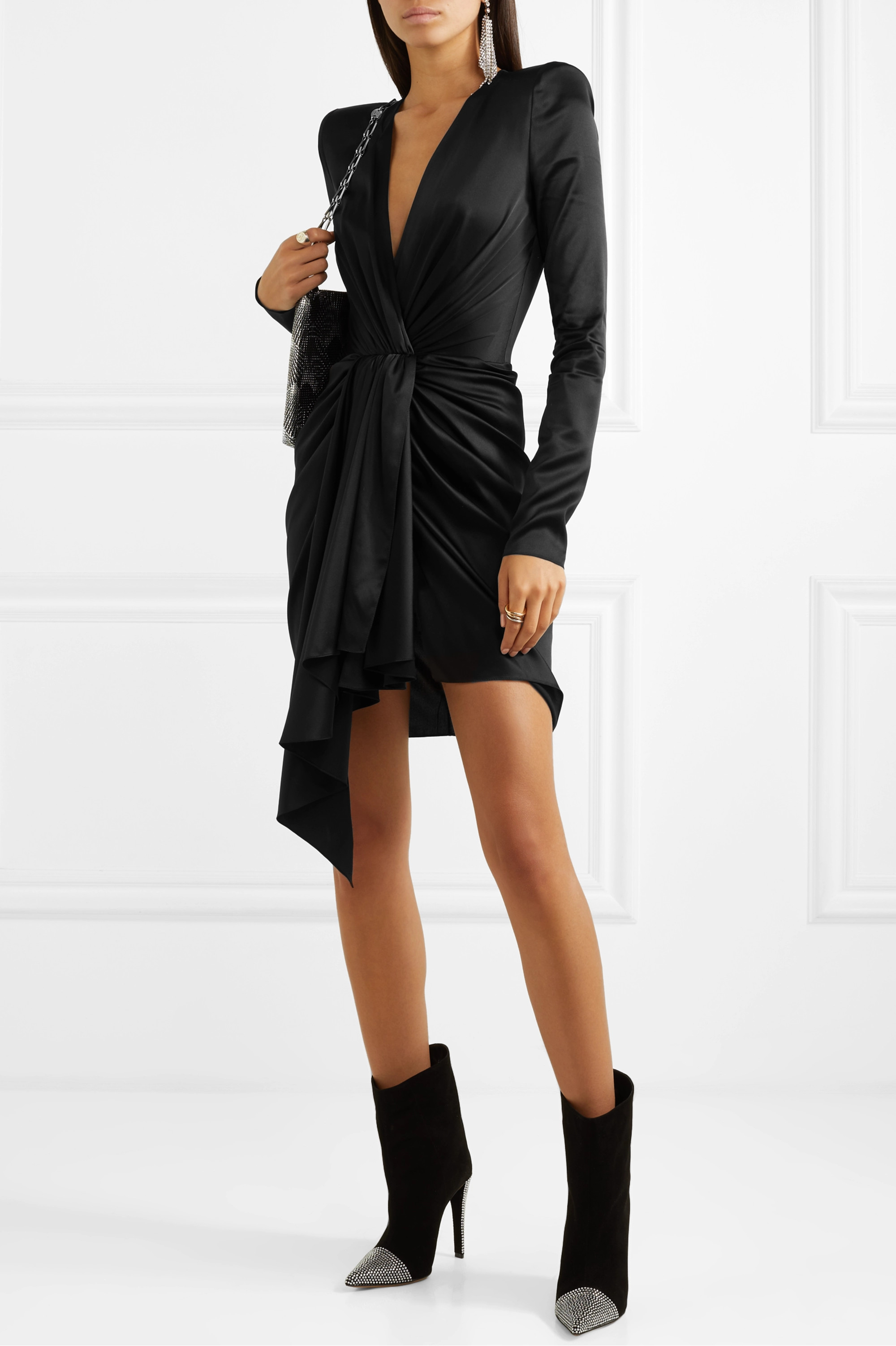 Alexandre Vauthier Draped stretch-silk satin mini dress