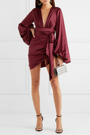 Ruched tie-detailed silk-blend satin mini dress