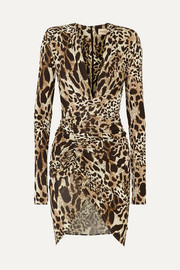 Ruched animal-print stretch-jersey mini dress