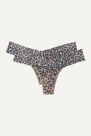 Hanky Panky Signature set of two leopard-print stretch-lace thongs