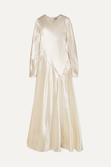 lace-trimmed-hammered-satin-gown by philosophy-di-lorenzo-serafini