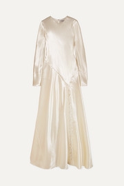 Philosophy di Lorenzo Serafini Lace-trimmed hammered-satin gown