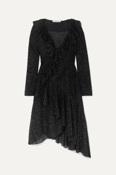 Asymmetric Ruffled Metallic Knitted Dress by Philosophy Di Lorenzo Serafini