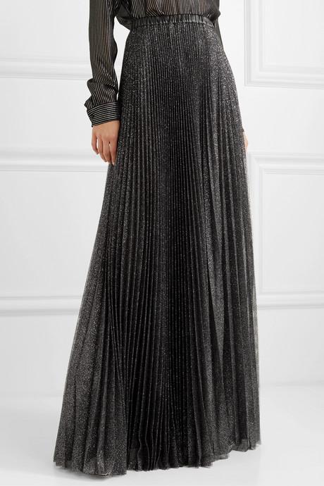 Pleated glittered tulle maxi skirt