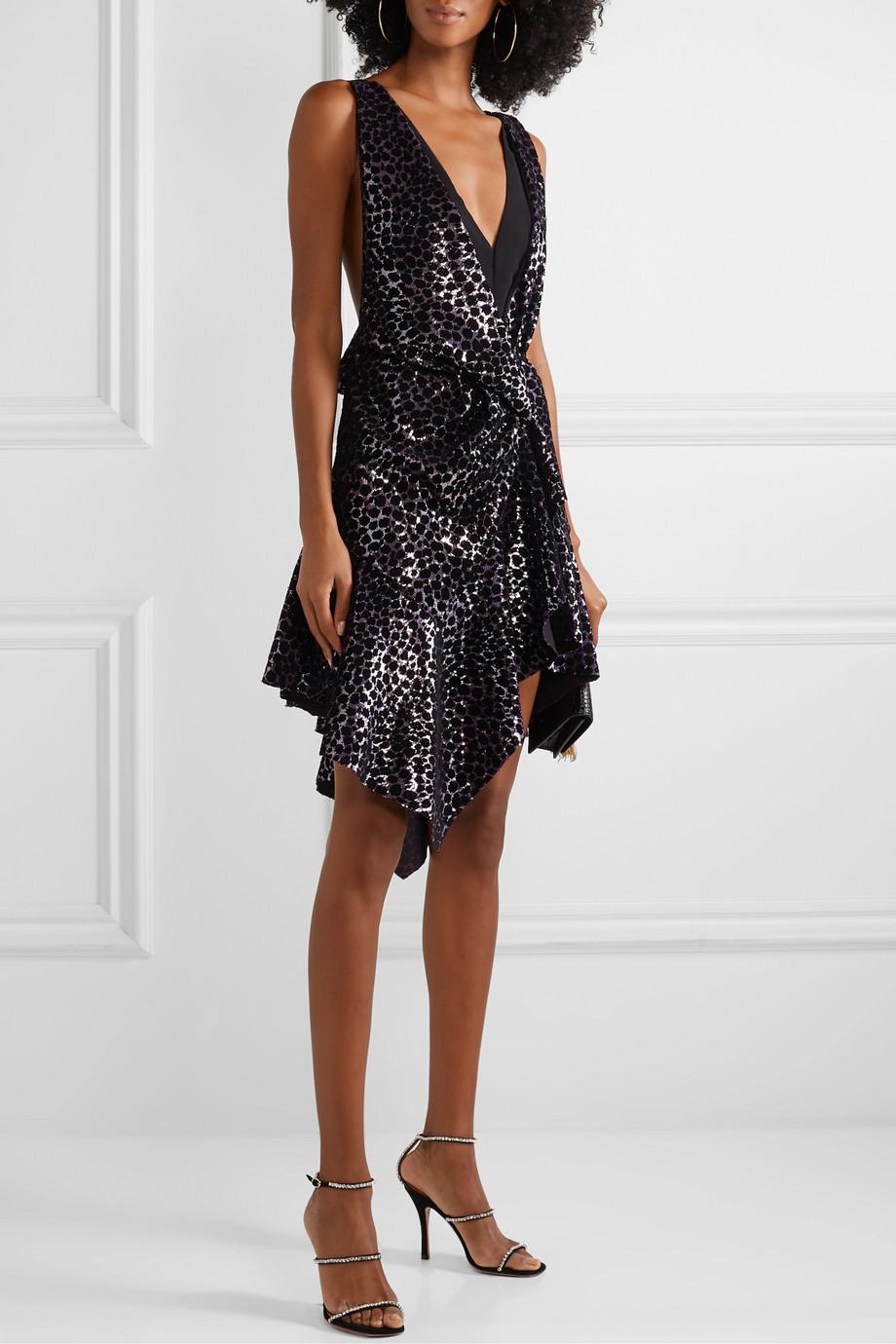 Philosophy di Lorenzo Serafini Ruffled flocked sequined mesh mini dress
