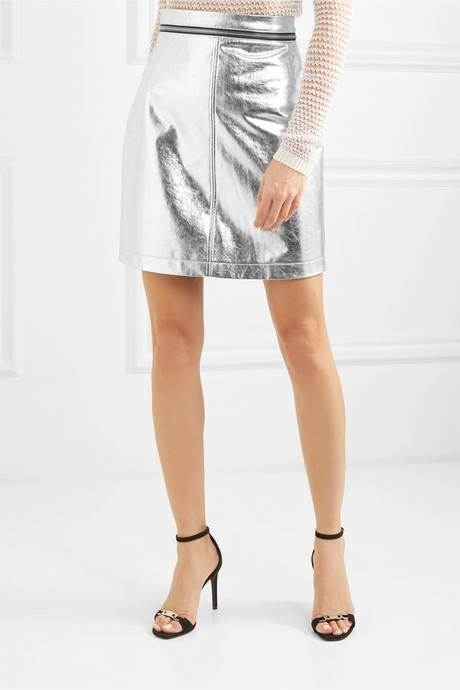 Zip-embellished metallic faux leather mini skirt