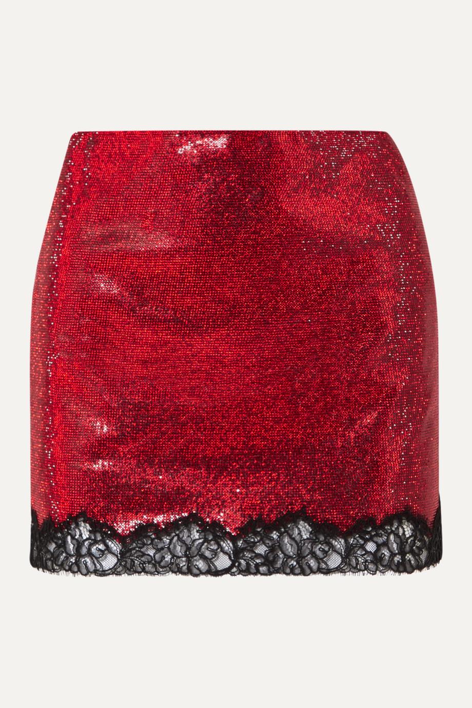 Philosophy di Lorenzo Serafini Mini-jupe en georgette à cristaux et à finition en dentelle