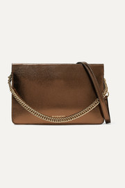 GV Cross metallic textured-leather and suede shoulder bag