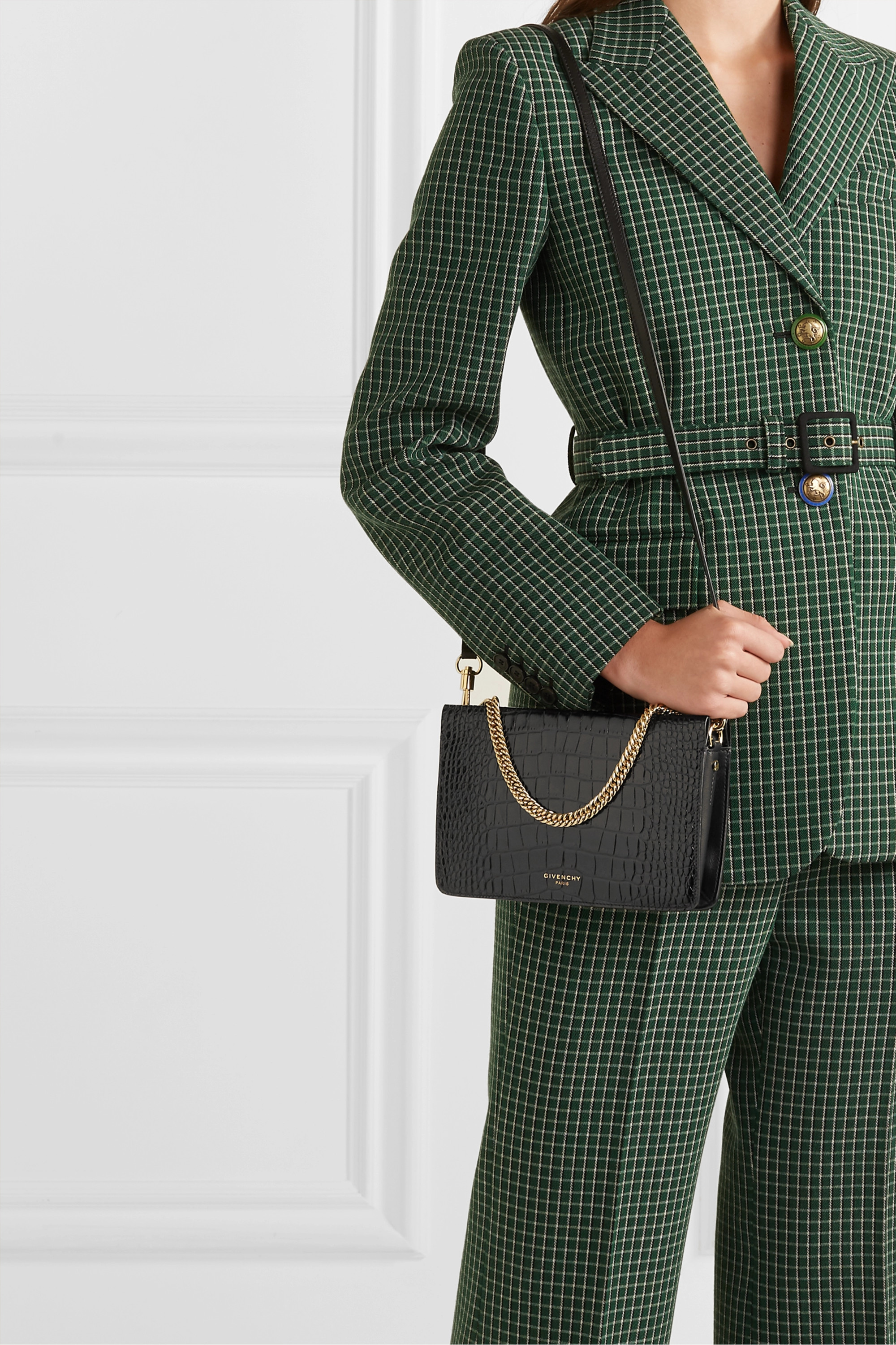 Givenchy GV Cross croc-effect and smooth leather shoulder bag