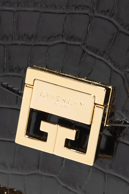 Givenchy GV3 kleine Schultertasche aus Leder mit Krokodileffekt und Veloursleder