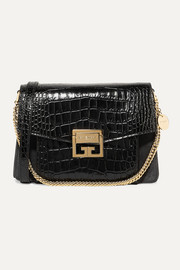GV3 small croc-effect leather and suede shoulder bag