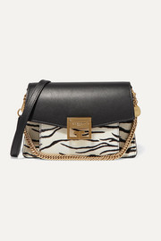 Givenchy GV3 small zebra-print calf-hair and leather shoulder bag