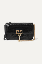 Pocket croc-effect and smooth leather shoulder bag